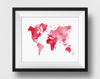World Map Wall Art, Pink Watercolour World Map Print, Travel World Map Decor, World Map Poster, Nursery Art, Home Decor Wall Art (728)