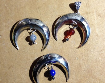 Solid silver Crescent Moon or lunula pendant