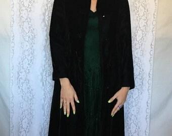 Vintage long black velvet coat