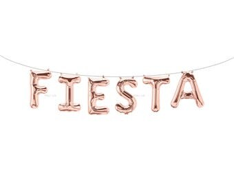 FIESTA Rose Gold Letter Balloons | Metallic Letter Balloons | Rose Gold Party Decorations