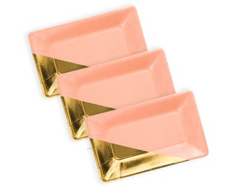 PEACH AND GOLD Plates | Blush Tone and Gold Metallic Foiled Plates | Cute Party Decoration | Size: 9 x 5.5 inches | Set of 8