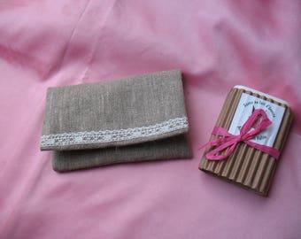 Pouch bag / tissue / stamps /savon linen Ecru vintage lace