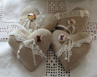 Heart linen and 100% Lavender / lace / RASCALITY porcelain bead