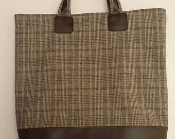 Large bag, faux leather and cotton canvas