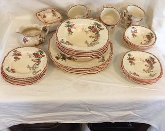 Myott Staffordshire Dinner Set 39 pieces embossed grapes flowers fh2909 pattern