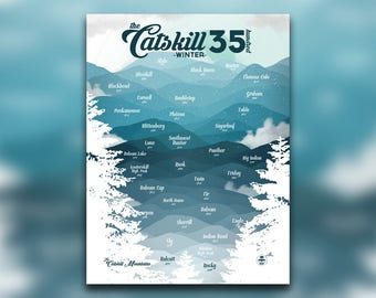 Catskill Mountains 3500 Winter Print - Catskill High Peaks, NY Poster - New York Mountain Climbing - Snowy Hiking Decor - Wall Art Graphic