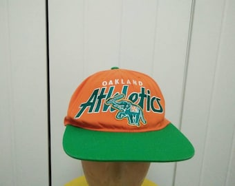 Rare Vintage OAKLAND ATHLETICS Big Logo Embroidered Spell Out Cap Hat Free size fit all