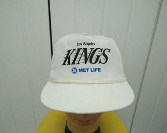 Rare Vintage LOS ANGELES KINGS Met Life Spell Out Cap Hat Free size fit all