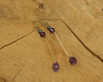 Earrings brass, amethyst and Crystal swarovsly