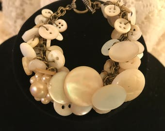 White/cream Vintage button bracelet