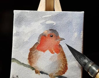 Mini painting and easel wood: Red bra