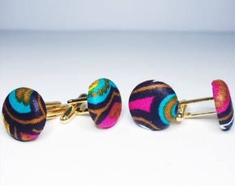 African Print Cuff Links // Men's Fashion // African Print Accessories
