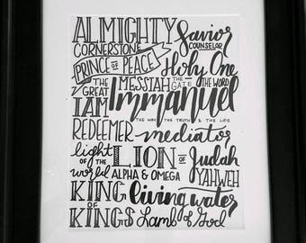 Names of Jesus Hand-Lettered Art