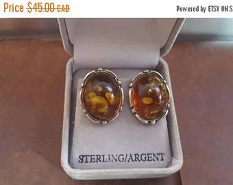 ON SALE Vintage Sterling Silver and Amber Clip-on Earrings