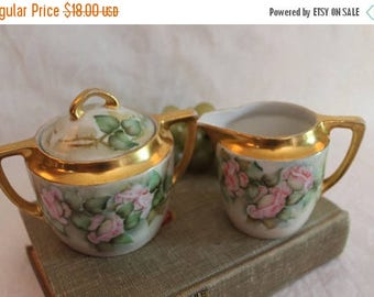 Christmas in July Sale Antique Weimar of Germany Porcelain Sugar Bowl and Creamer Set - Hand Painted Pink Roses, Victorian