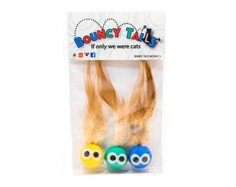 Cat Ball Toy : Bouncy Tails (3-pack & all natural feathers) A portion of your proceeds goes to helping pets in need!!! Updates on Instagram