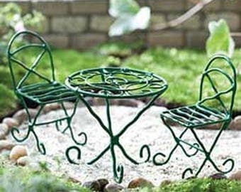 Green Bistro Set - miniature enchanted fairy garden