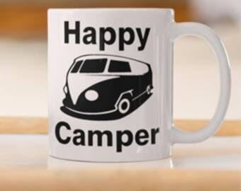 Mug with happy camper Van print, Holiday Volkswagen camper van, Volkswagen Camper van club, Holiday Camping Van Print, VW Classic Van.