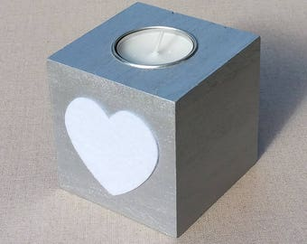 Square wooden candlestick painted silver