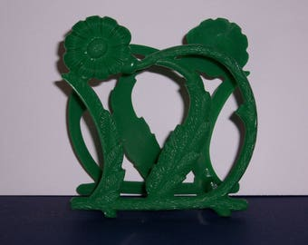 Vintage  Green Plastic Napkin Holder, Vintage Plastic 1960's Flower Napkin Holder