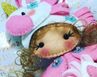 Unicorn felt Rag doll ragdoll  doll  Ooak cloth doll handmade by Cobesco's Creations
