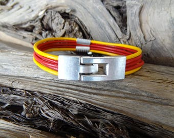EXPRESS SHIPPING,Men's Red&Yellow Leather Bracelet,Multi-Strand Cuff Bracelet,Leather Jewelry,Silver Hook Bracelet,Christmas Gifts