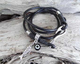 EXPRESS SHIPPING,Wrap Leather Bracelet,Zodiac Bracelet,Black Leather Bracelet,Fishes Jewelry,Evil Eye Bracelet,Gifts for Her,Christmas Gifts