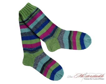 Size 38-39 socks hand-knitted stockings striped socks of straped socks handknit woolsocks