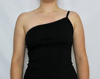 90s Asymmetrical Club Dress // Black stretch material // My Michelle // Small