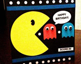 Birthday greeting card theme pacman/happy birthday card pacman theme