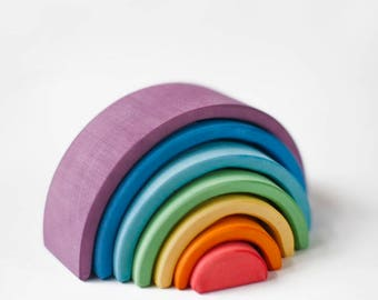 Wooden Rainbow Toy | Rainbow stacker | Rainbow stacking toy | Wooden stacker | Waldorf toy | Openended toy | Sunset | Toddler toy | Eco Toy