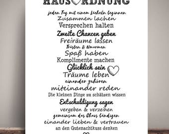 House rules for pairs / couples - art print, mural painting, print, DIN A3 - gift to the collection