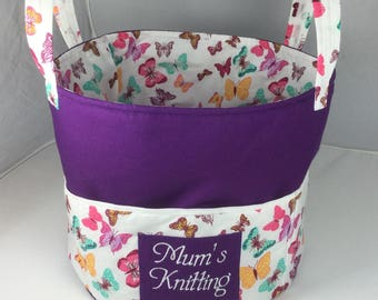 Knitting Bag Toy Basket Also for Swimming, Shopping or Storage. With Large Pockets. Ideal for knitting wool or other craft projects.