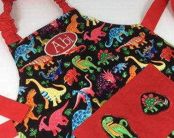 Kids Personalised Dinosaur Apron. Handmade Adult apron. Dinosaur gift, personalised pocket apron, boys apron, girls apron, kids apron, craft