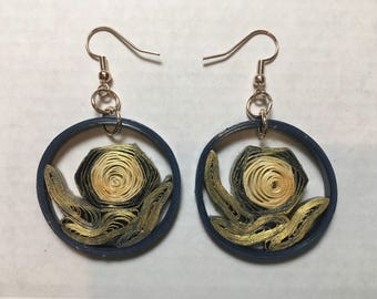 Handmade Navy and Gold Quilled Paper Earrings