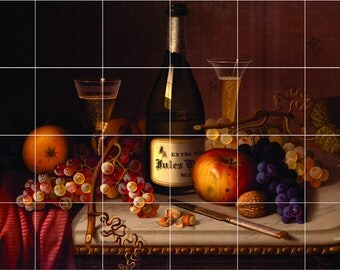 Wine and grapes Tile Mural