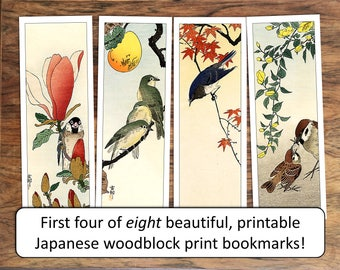 Japanese printable bookmarks or gift labels, for motivation or party favors: woodblock print collection vol. 2