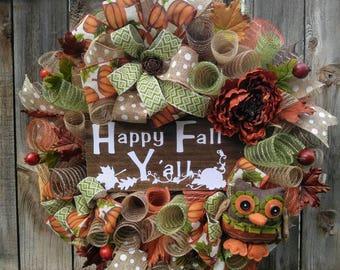 Fall wreath, owl wreath, happy fall y'all wreath, orange and brown wreath, Autumn wreath, fall decor, owl decor