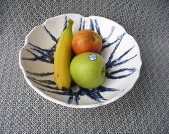 Blue White Ceramic, Pottery Fruit Bowl, Ceramic Large Bowl, Ceramic Wedding Gift, Blue White Gift, Christmas Gift, OOAK Bowl, Kitchen Gift