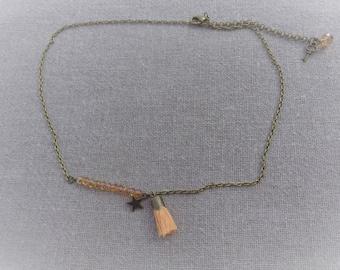 Chic star tassel orange bronze bohemian necklace
