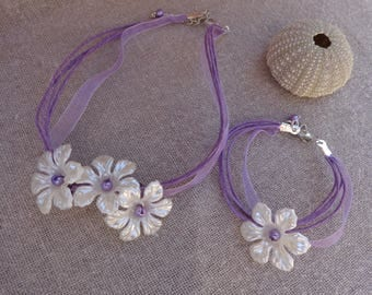 Child set purple necklace and bracelet set purple necklace flower child