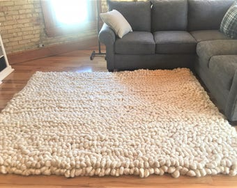 Vegan Wool Rug, Chunky Knit Area Rug, Carpet, Handwoven Wool Area Rug,