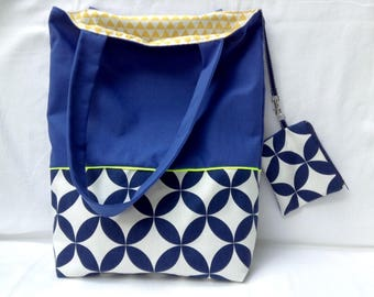 Bag / tote bag / Tote bag reversible, blue and white fabric