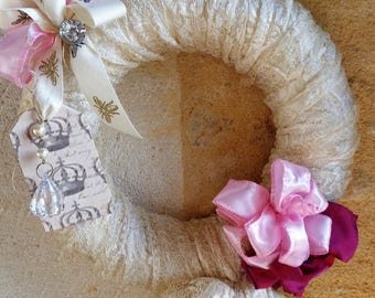 Crown lace antique shabby pink satin and tassel