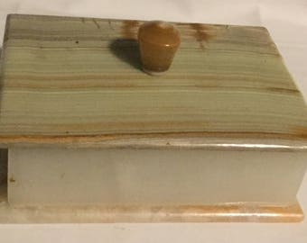 Vintage Alabaster Rectangular Lidded Jewelry Trinket Box