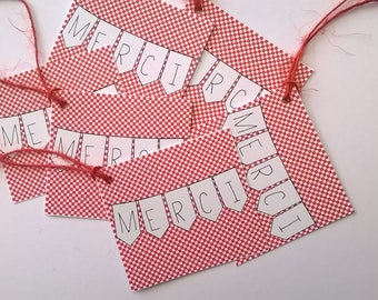 Six mini red checkered thank you tags