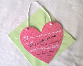 "The big day card, card hanging heart pink quote ""grandparents"" envelope choice"