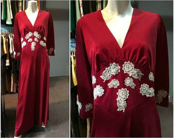 Vintage 1970s Red Maxi Dress with White Rose and Pearl Detail - Size 10