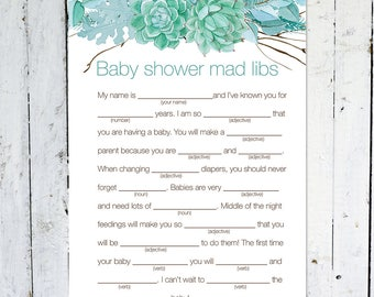 Baby Shower Mad Libs, Turquoise, Floral, Gender Neutral, Boy, Branches, Advice, Instant Download