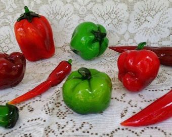 Murano Glass Assorted Peppers * Collection of 14 pieces